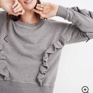 NWT Madewell Ivory Ruffle Oversize Sweatshirt
